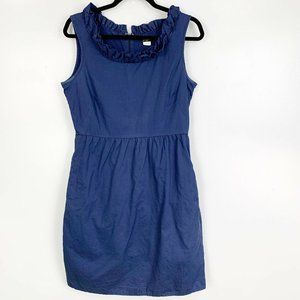J Crew Sleeveless Ruffle Trim Sheath Dress